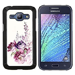 Acuarela Rose floral de la primavera- Metal de aluminio y de plástico duro Caja del teléfono - Negro - Samsung Galaxy J1 / J100