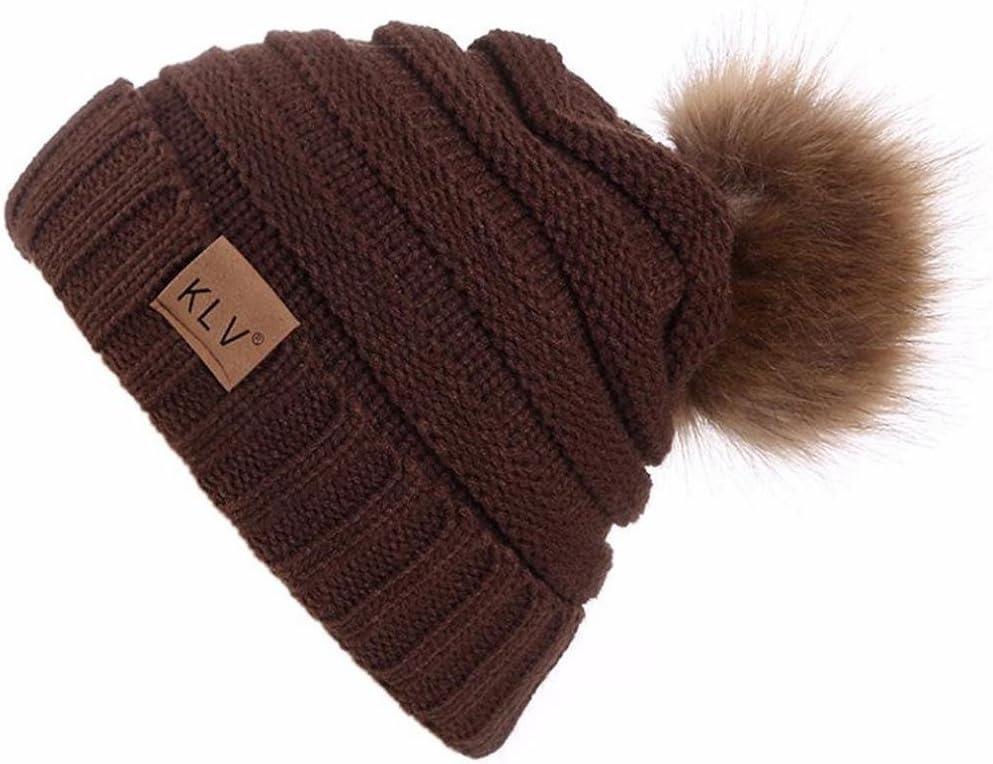 LuckES Conjunto de bufanda y sombrero, mujeres invierno cálido sombrero de bufanda de punto con falso piel Las mujeres invierno Crochet sombrero piel Cannabis