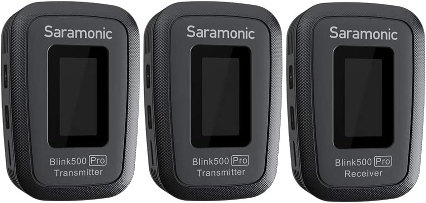 Broadcast-Quality Sound for Smartphone DSLR Cameras Saramonic Blink500 PRO B2 Microphone with Portable Charging Case TX+TX+RX Mono//Stereo Recording Mode 2.4GHz Wireless Lavalier Mic System