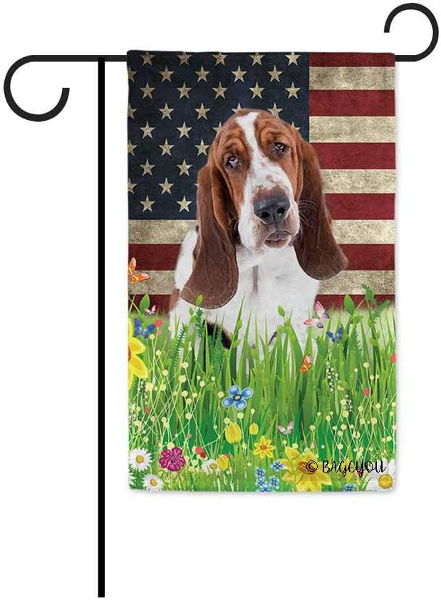 BAGEYOU Cute Puppy Basset Hound Garden Flag Lovely Pet Dog American US Flag Wildflowers Floral Grass Spring Summer Decorative Patriotic Banner for Outside 12.5x18 inch Printed Double Sided