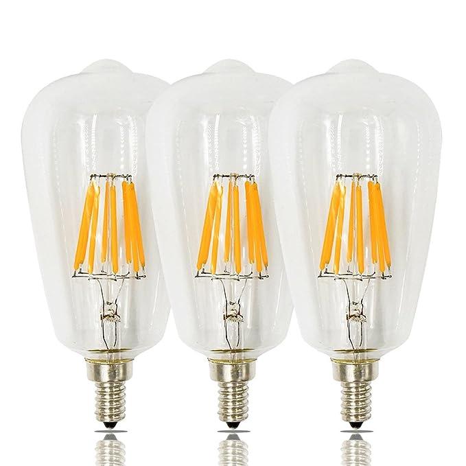 Bonlux 8W Dimmable ST21 LED Candelabra Edison Filament Bulb ST64 E12 Candelabra Base 120V Warm White 2700K Clear Squirrel Cage Style Decorative Bulb 80W ...