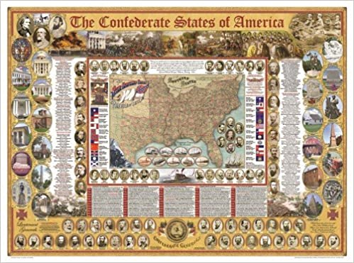 Confederate States Of America Poster The Civil War State Map