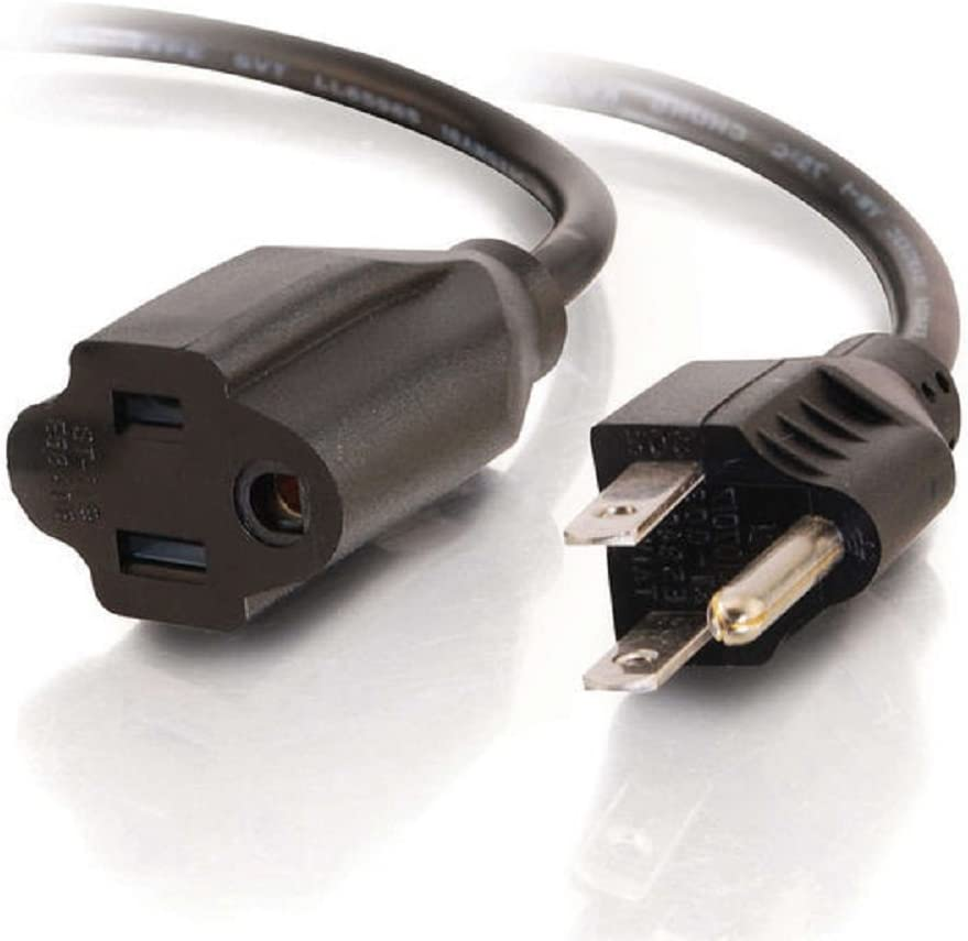 NEMA 5-15P to NEMA 5-15R C2G 53410 18 AWG Outlet Saver Power Extension Cord Black 25 Feet, 7.62 Meters TAA Compliant