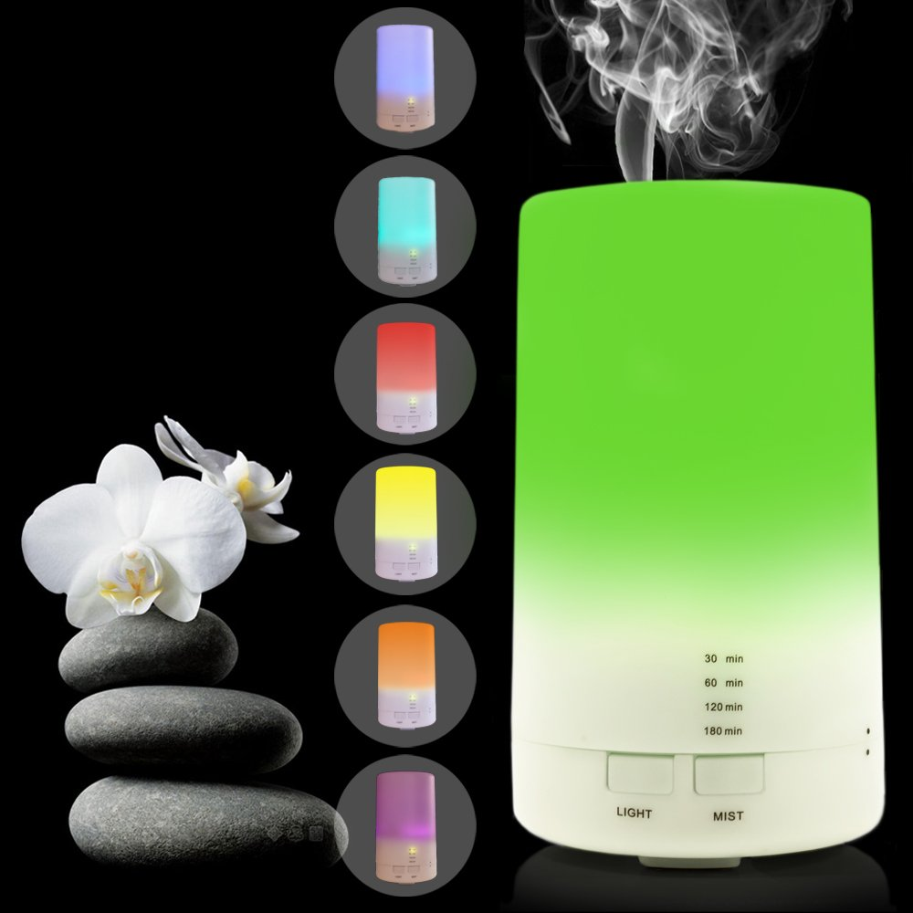 USB Aromatherapy Essential Oil Diffuser - 2.3 oz (70ml) Car Portable Mini Ultrasonic Cool Mist Aroma Air Humidifier - Office Desk Home Travel Baby Room Bedroom - 7 Color LED Lights and Timer