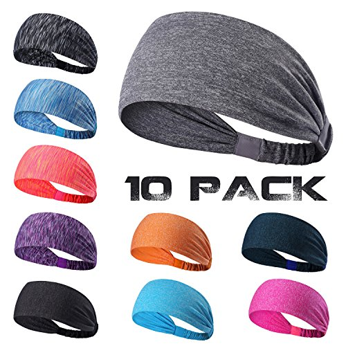 Yoga Headbands, 10 Pack Sports Sweatbands Wicking Stretchy Non-Slip Elastic Head Wrap for Running/Cycling/Fitness Exercise - Fits Men and Women