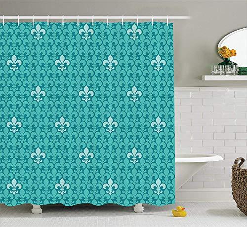 HarMQ Turquoise Decor Shower Curtain Set Fleur De Lis Pattern Ancient Lily Ornate Medieval Interior Monochromic Art Bathroom Accessories Extralong Turquoise Teal 60