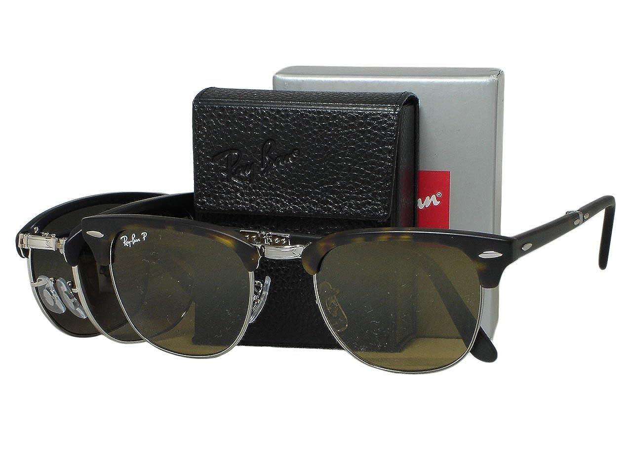 3f2b5ff96d Ray Ban RB2176 Folding Clubmaster 1151 M7 Matte Havana Polarized Sunglasses  51mm  Amazon.ca  Clothing   Accessories