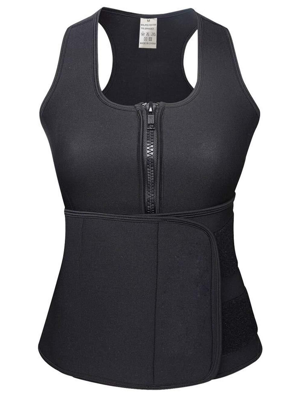 HEXIN Women Waist Trainer Neoprene Hot Sweat Sauna Vest with Waist Trimmer Belt for Weight Loss Black S