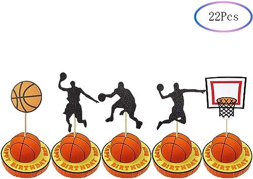 22 piezas de decoración para cupcakes con silueta de baloncesto ...