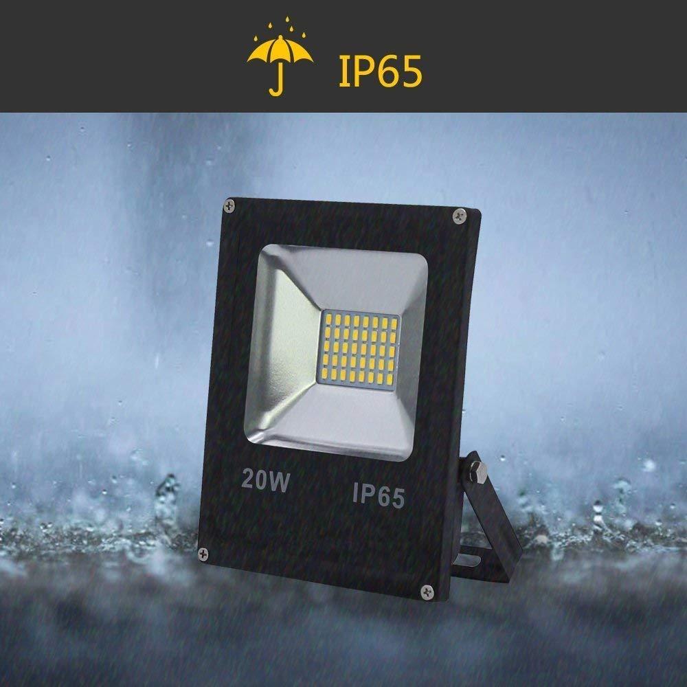 Hengda/® 20W LED Fluter Au/ßen Flutlicht Strahler 6000K-6500K Kaltwei/ß Baustrahler AC85-265V IP65 Scheinwerfer Abstrahlwinkel 120/°