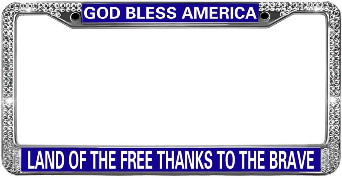 GOD BLESS AMERICA LAND FREE THANKS BRAVE Chrome Motorcycle License Plate Frame