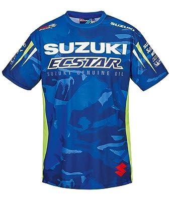 SUZUKI MotoGP Team T-Shirt, Edelprint kurzarm ! Camouflage Ecstar Racing ! blau  weiß