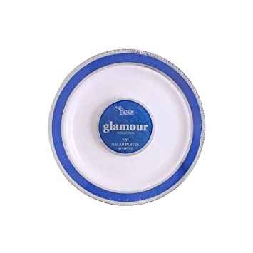 party bargains white plastic plates elegant blue silver border durable glamour collection chinalike