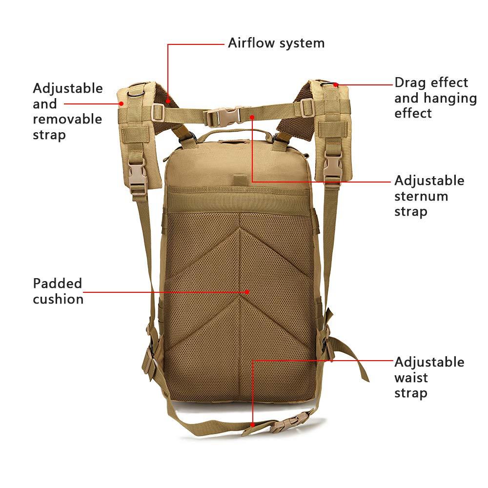 ZEHNHASE Sac Militaire Tactique Molle 45L Sac a Dos Large imperm/éable Randonn/ée Plein Air Camping Trekking Chasse Voyage 25 x 56 x 28cm