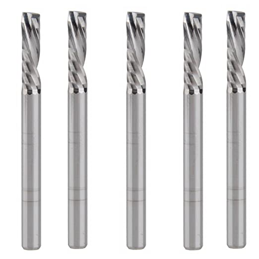 HOZLY 4x22mm Down Cut Left-handed 1 Flute End Mill Carbide Cutting Tools Bits On Clean Machining Acrylic//Woodworking Pack of 5
