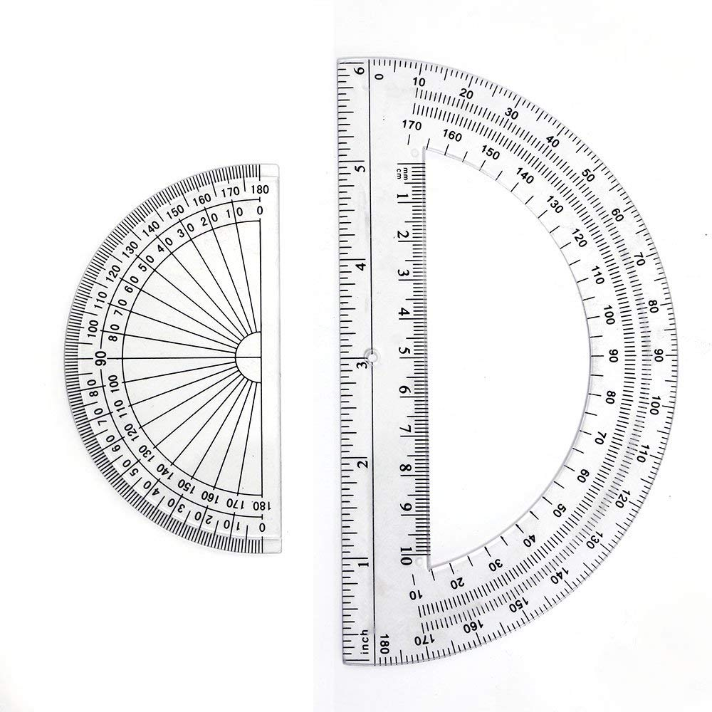 2+2 Pack Plastic Protractors 180 Degrees, 6 Inches and 4 Inch, Clear by changdadic (Image #4)