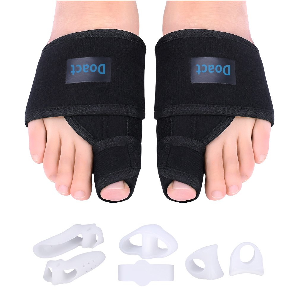 Doact Bunion Corrector Day And Night Kit Orthopedic Hallux Valgus Correction 1pair Silicone Foot Fingers Toe Separator Thumb Protect Splint With 6 Pieces Gel Separators For Pain Relief Women