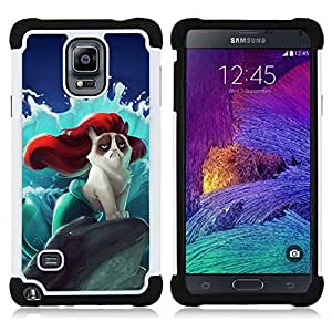 - Cat Cartoon Cute - - Fulland Deluxe Hybrid TUFF Rugged Shockproof Rubber + Hard Case Cover FOR Samsung Galaxy Note 4 SM-N910 N910 IV Queen Pattern