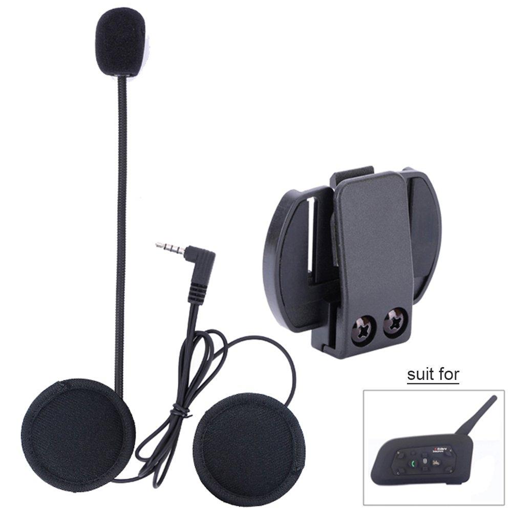 Fodsports BT V6 Bluetooth Casque Moto Helmet Intercom Haut-parleurs Moto Casque Communication Casque 6 Riders Intercomunicador Moto Bluetooth Interphone 850mAh, Walkie Talkie (2 Pack Soft Cable) … Walkie Talkie (2 Pack Soft Cable) ...