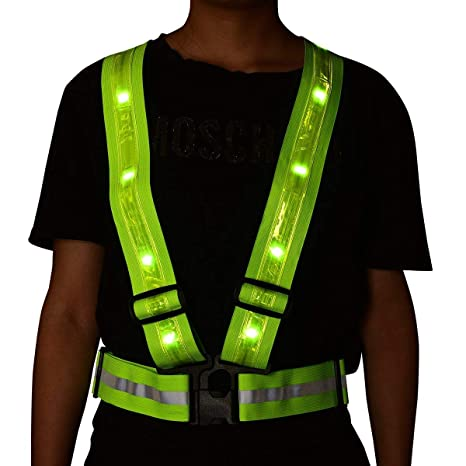 Analytical Cycling Flashing Vest High Visibility Reflective Led Flash Bike Vest Adjustable Running Cycling Vest Safety Outdoor Vest Cycling Vest Cycling Clothings