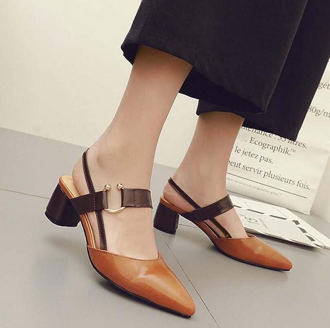 Bomba Chunkly Tacones Zapatillas abiertas Sandalias Hebilla de metal Ol Zapatos Zapatos casuales Mujer Moda Encantador Dedo del pie puntiagudo Correa de ...