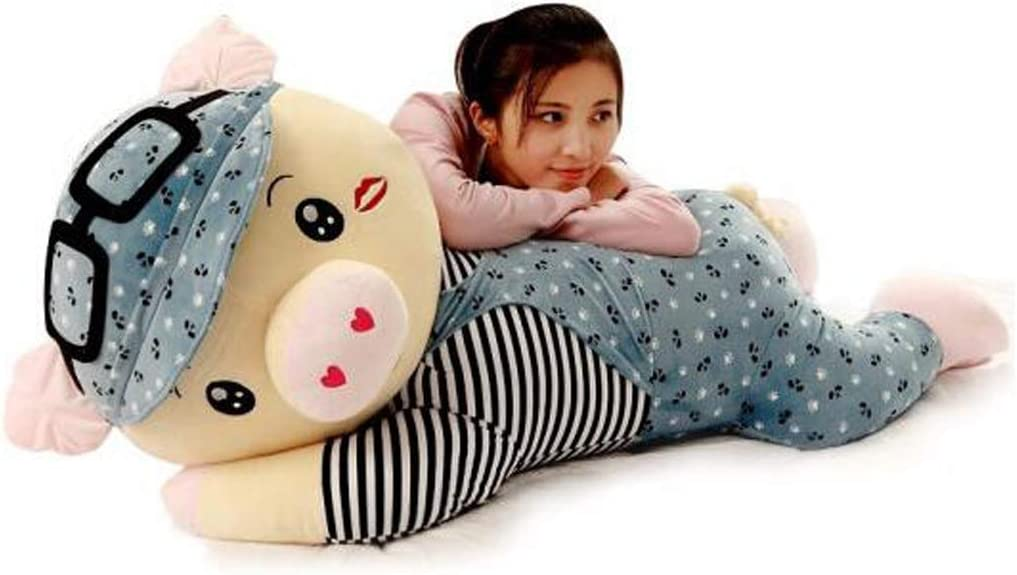 かわいいMcDull Pig Doll Doll Rag Doll Bed Plush Toy Sleeping Pillow Large Send Girl Birthday Gift Girl ピンク Fanfan Pig 80CM ( Color : 青 , Size : 1m )