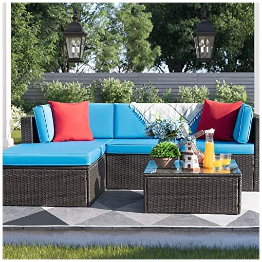 Garden and Outdoor Devoko 5 Pieces Patio Furniture Sets All Weather Outdoor Sectional Sofa Manual Weaving Wicker Rattan Patio Conversation… patio furniture sets