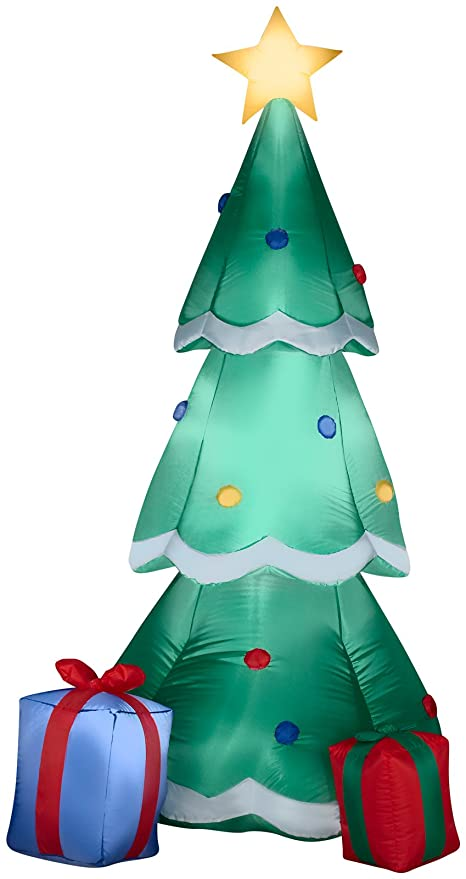 gemmy airblown inflatable christmas tree decorated with ornaments and presents beside it indoor outdoor holiday - Amazon Outdoor Christmas Decorations