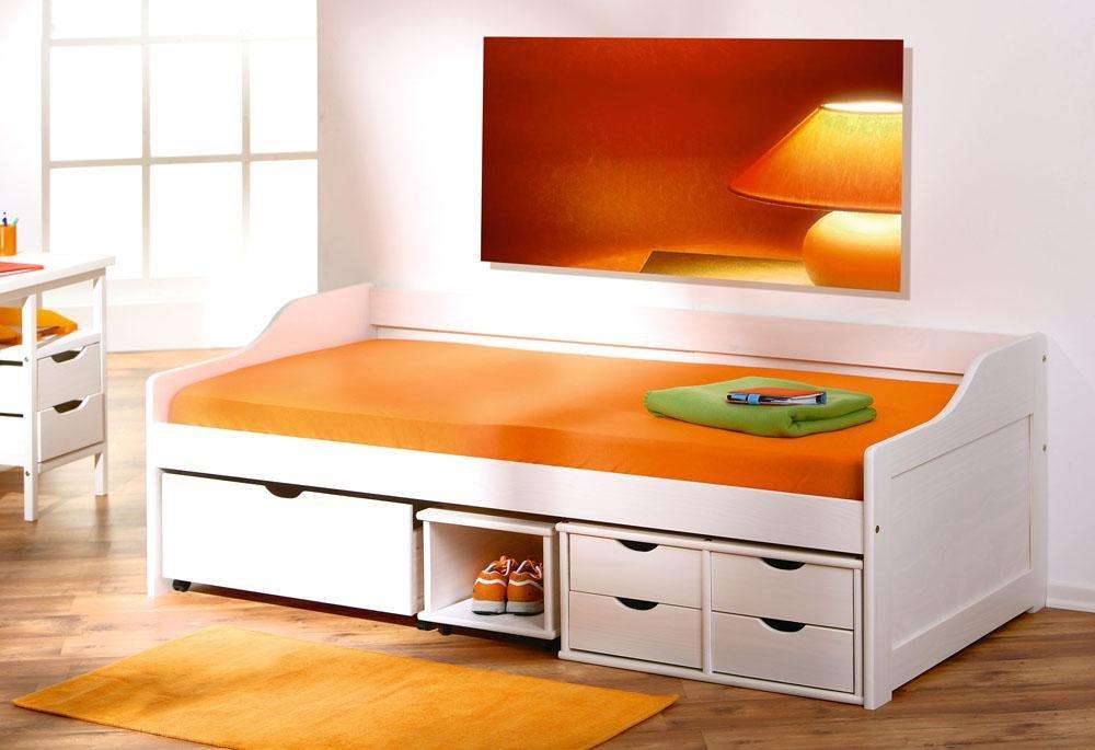 eddf036cf3 Cama Infantil Solteiro com gavetas e nichos - branco lavado  Amazon.com.br   Cozinha