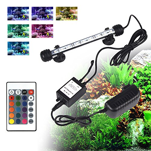 LED Aquarium Light, Smiful Fish Tank 16 Color 4 Modes RGB Lights Submersible Underwater Crystal Glass Lights with Wireless Remote Control, 7.5'' - Multi Color (Colorful) by S SMIFUL (Image #1)