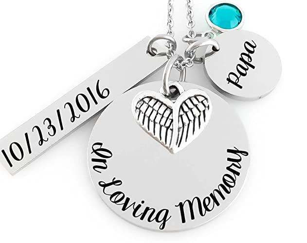 Amazon memorial jewelry necklace in loving memory angel memorial jewelry necklace in loving memory angel wing heart birthstone date and aloadofball Gallery