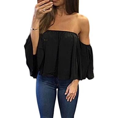 1824782745c3 zdzdy Women Short Sleeve Off Shoulder Blouse Casual Pleated Ruffle Blouse  Top Shirt (Black1
