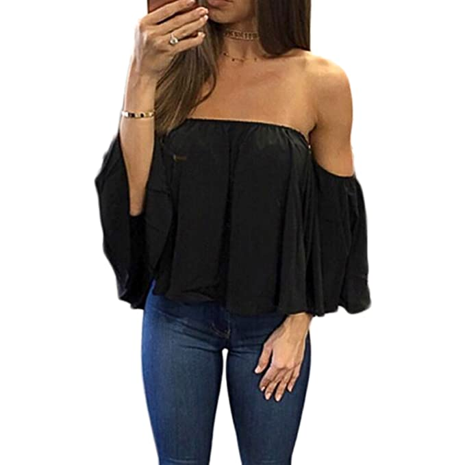 10c27e4c1098b7 Women Short Sleeve Off Shoulder Blouse Casual Pleated Ruffle Blouse Top  Shirt (Black1, XXS