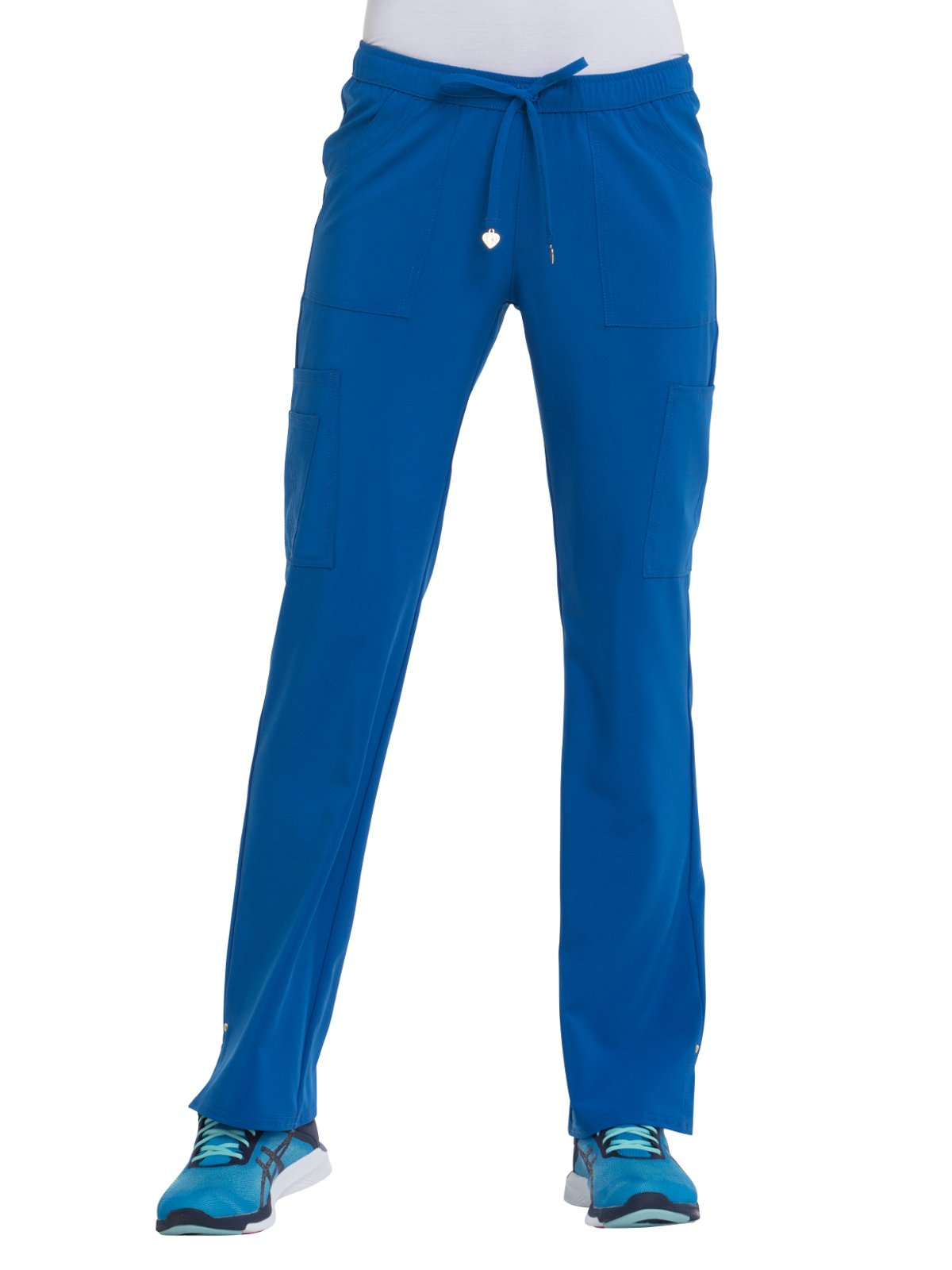 HeartSoul Love Always Women's Charmed Low Rise Drawstring Cargo Scrub Pant Small Royal