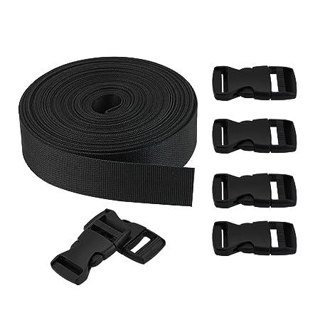GOLRISEN 10 Yard Nylon Gurtband 25mm mit 6 Paar Klickverschluss Kunststoff Klippverschluss Steckschnalle für Rucksack, Tasche