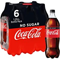 Coca-Cola No Sugar Soft Drink Multipack Bottles 6 x 1.25 L