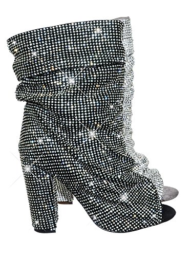 Heel Black Women's Slouch Toe Block Bootie Crystal Ankle Peep High Rhinestone Aquapillar WHUgwqxSU