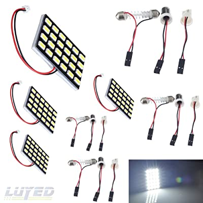 LUYED 4 x 960LM Super Bright 5630 24-SMD White Color Panel Interior Dome LED Lights(Include 3 Adapter): Automotive