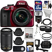 Nikon D3400 Digital SLR Camera & 18-55mm VR (Red) & 70-300mm DX AF-P Lenses with 32GB Card + Case + Flash + Video Light + Tripod + Tele/Wide Lens Kit