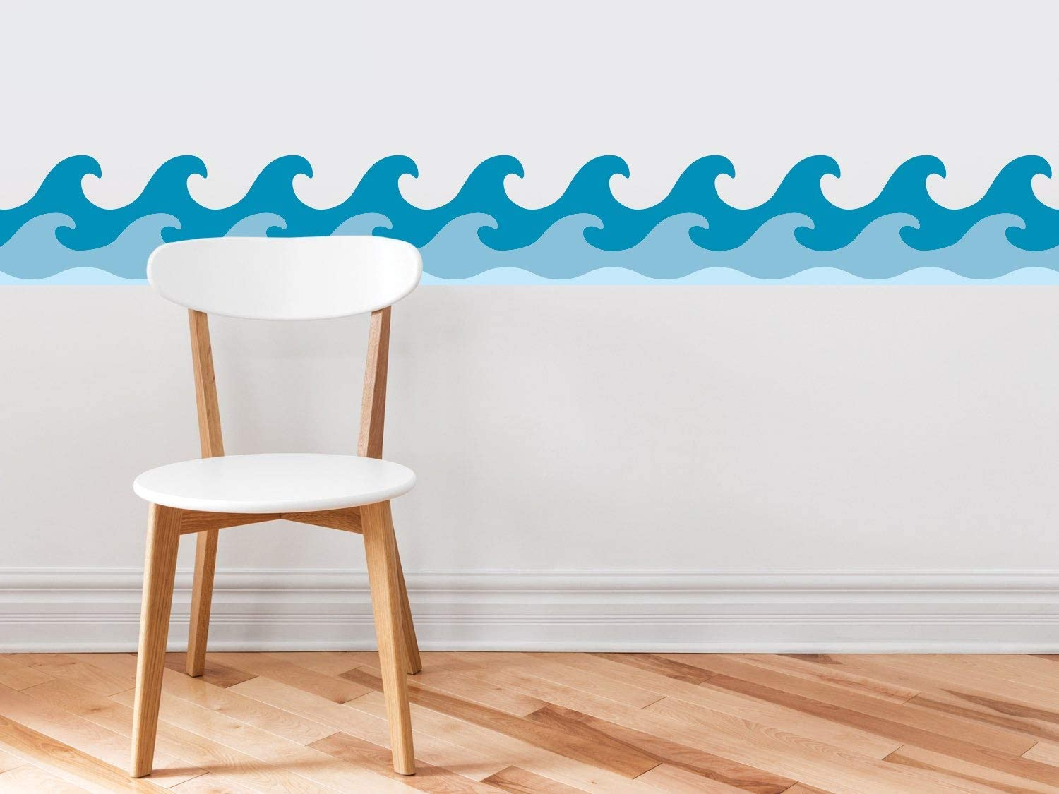 """Sunny Decals Wave Wall Border Fabric Wall Decal-Set of 2, 7.8"""" x 24"""", Original"""