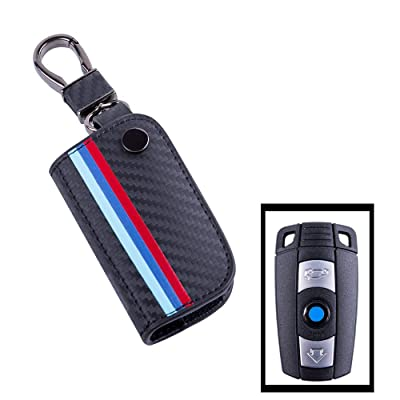 JKCOVER Key Fob Holder Protector Compatible with BMW Remote Fob, M-Colored Stripe Black Carbon Fiber Pattern Leather Key Cover with Keychain (for Older 1 3 5 6 Series X5 X6 Z4): Automotive [5Bkhe1012861]