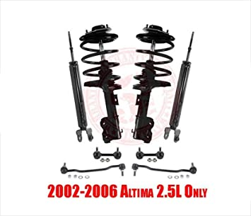 Complete Front Strut Coil Spring /& Mount Assembly Set and Rear Shocks for 2002 2003 2004 2005 2006 Nissan Altima V6 3.5L Only
