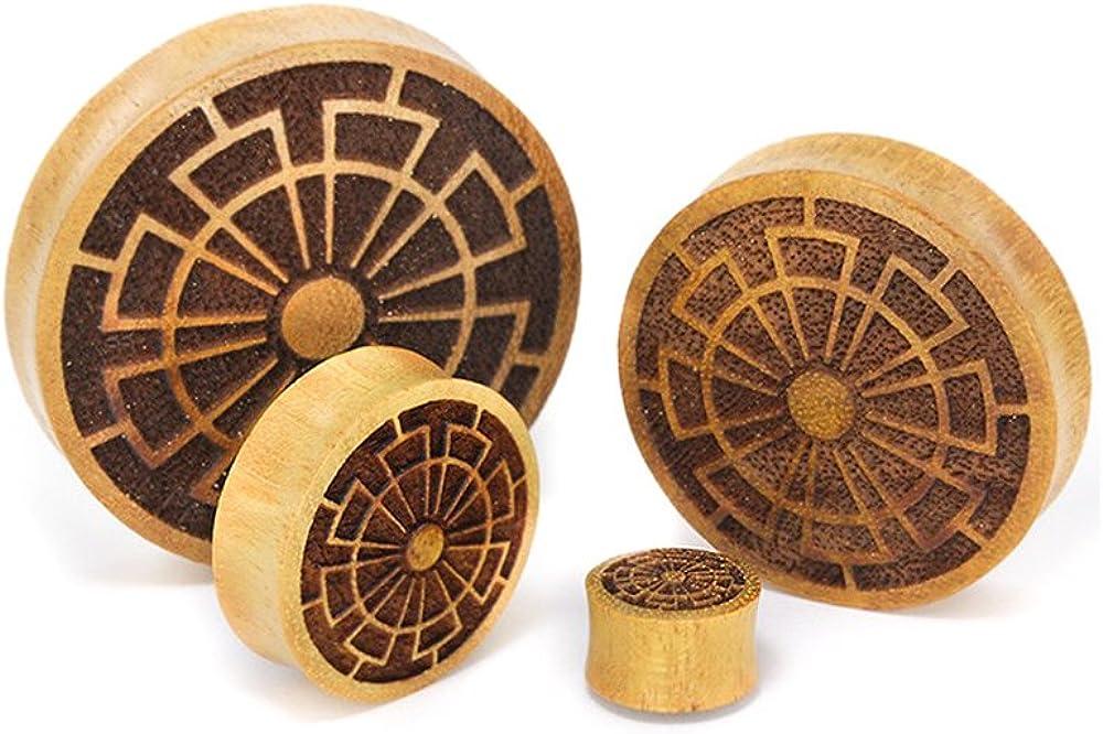 Elementals Organics Jackfruit Wood Plugs for Ear - Ear Gauge with Crop Circle Design