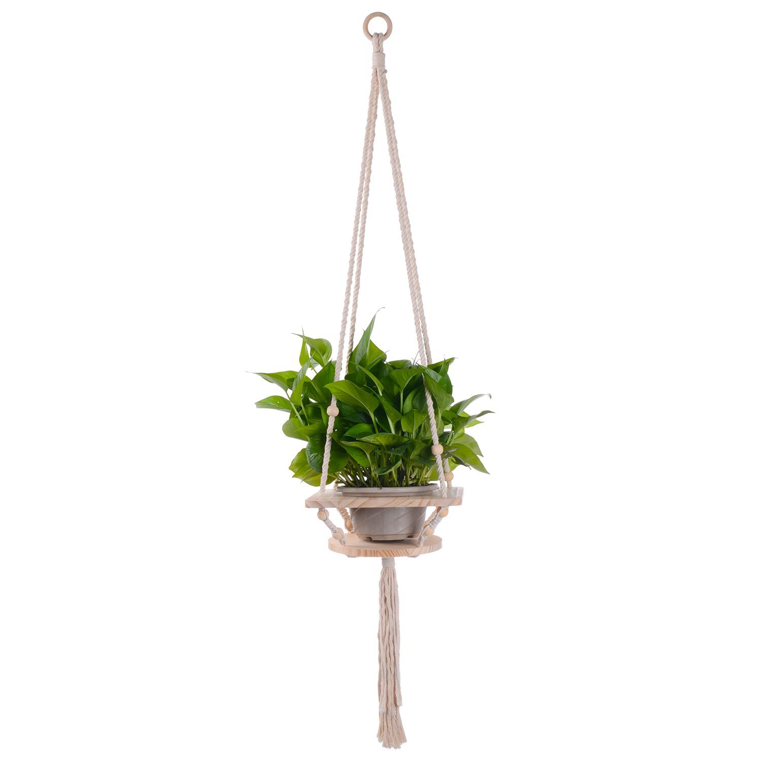 Sonyabecca Macrame Plant Hanger Flower Pot Holder Indoor Outdoor Hanging Planter Shelf Cotton Cord Pine Shelf by Sonyabecca