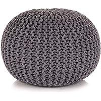 vidaXL Hand-Knitted Pouffe Living Room Bedroom Foot Rest Stool Seat Ottoman Furniture Cotton 50x35cm Grey
