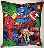 Marvel Pillow Grouped Marvel Classics Hulk Spiderman Thor Ironman Captain America All Our Pillows Are Handmade Hypoallergenic Cotton with Flannel Backing Ideal for Gift and Multiple Uses