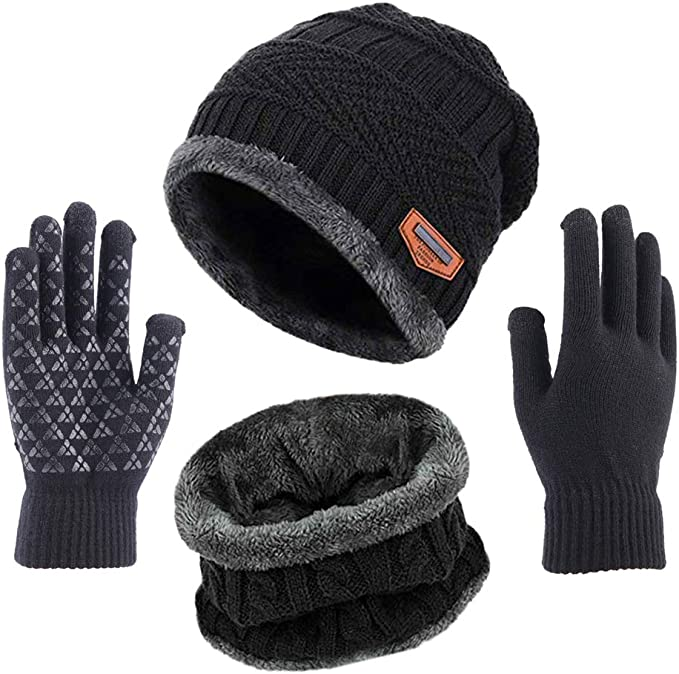 Men Warm Insulated Thermal Knitted Winter Grey Hat and Glove Set