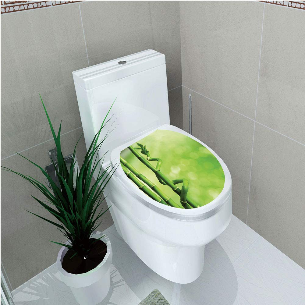 Toilet Sticker,Green,Bamboo Stems Nature Ecology Sunbeams Soft Spring Scenic Spa Health Relaxation Decorative,Green Light Green,Diversified,W11.8''xH14.2''