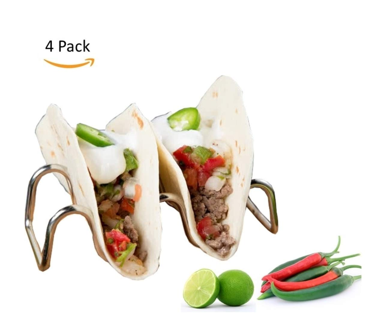Taco Holder Stand - 4pc - Stainless Steel - Different Design with the Best Quality (4)