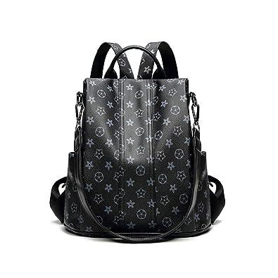 50c02e416652 Amazon.com  Fashion PU Shoulder Bag Handbags Purse Anti-theft Rucksack  Designer Leather Backpack Purse for Women (Black print)  Shoes